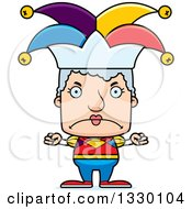 Clipart Of A Cartoon Mad Block Headed White Senior Woman Jester Royalty Free Vector Illustration by Cory Thoman