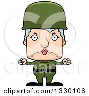 Clipart Of A Cartoon Mad Block Headed White Senior Woman Soldier Royalty Free Vector Illustration