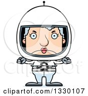 Clipart Of A Cartoon Mad Block Headed White Senior Woman Astronaut Royalty Free Vector Illustration by Cory Thoman