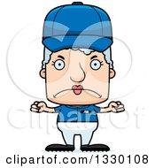 Poster, Art Print Of Cartoon Mad Block Headed White Senior Woman Baseball Player