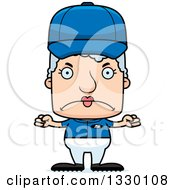 Clipart Of A Cartoon Mad Block Headed White Senior Woman Baseball Player Royalty Free Vector Illustration