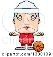 Clipart Of A Cartoon Mad Block Headed White Senior Woman Basketball Player Royalty Free Vector Illustration by Cory Thoman
