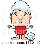 Clipart Of A Cartoon Mad Block Headed White Senior Woman Beach Volleyball Player Royalty Free Vector Illustration