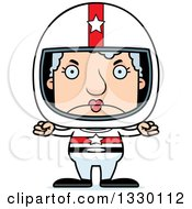 Clipart Of A Cartoon Mad Block Headed White Senior Woman Race Car Driver Royalty Free Vector Illustration