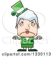 Clipart Of A Cartoon Mad Block Headed White Irish St Patricks Day Senior Woman Royalty Free Vector Illustration