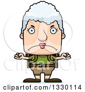 Clipart Of A Cartoon Mad Block Headed White Senior Woman Hiker Royalty Free Vector Illustration by Cory Thoman