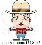 Clipart Of A Cartoon Mad Block Headed White Senior Woman Cowgirl Royalty Free Vector Illustration by Cory Thoman
