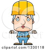 Clipart Of A Cartoon Mad Block Headed White Senior Woman Construction Worker Royalty Free Vector Illustration by Cory Thoman