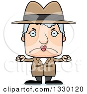 Clipart Of A Cartoon Mad Block Headed White Senior Woman Detective Royalty Free Vector Illustration