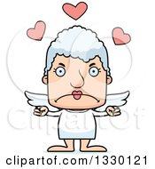 Clipart Of A Cartoon Mad Block Headed White Senior Woman Cupid Royalty Free Vector Illustration