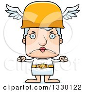 Clipart Of A Cartoon Mad Block Headed White Senior Woman Hermes Royalty Free Vector Illustration