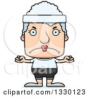 Clipart Of A Cartoon Mad Block Headed Fit White Senior Woman Royalty Free Vector Illustration