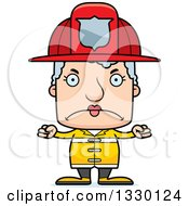 Clipart Of A Cartoon Mad Block Headed White Senior Woman Firefighter Royalty Free Vector Illustration by Cory Thoman