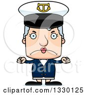 Clipart Of A Cartoon Mad Block Headed White Senior Woman Boat Captain Royalty Free Vector Illustration