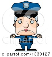 Clipart Of A Cartoon Mad Block Headed White Senior Woman Police Officer Royalty Free Vector Illustration by Cory Thoman