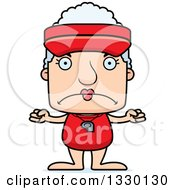 Clipart Of A Cartoon Mad Block Headed White Senior Woman Lifeguard Royalty Free Vector Illustration
