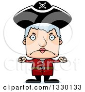 Clipart Of A Cartoon Mad Block Headed White Pirate Senior Woman Royalty Free Vector Illustration by Cory Thoman