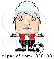 Clipart Of A Cartoon Mad Block Headed White Senior Woman Soccer Player Royalty Free Vector Illustration by Cory Thoman
