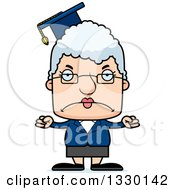 Clipart Of A Cartoon Mad Block Headed White Senior Woman Professor Royalty Free Vector Illustration by Cory Thoman