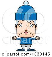 Clipart Of A Cartoon Mad Block Headed White Senior Woman In Winter Clothes Royalty Free Vector Illustration by Cory Thoman