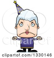 Clipart Of A Cartoon Mad Block Headed White Senior Woman Wizard Royalty Free Vector Illustration by Cory Thoman