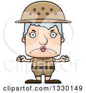 Clipart Of A Cartoon Mad Block Headed White Senior Woman Zookeeper Royalty Free Vector Illustration