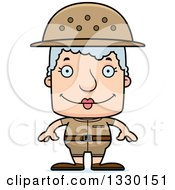 Clipart Of A Cartoon Happy Block Headed White Senior Woman Zookeeper Royalty Free Vector Illustration