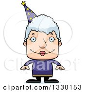 Clipart Of A Cartoon Happy Block Headed White Senior Woman Wizard Royalty Free Vector Illustration by Cory Thoman