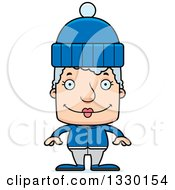Clipart Of A Cartoon Happy Block Headed White Senior Woman In Winter Clothes Royalty Free Vector Illustration by Cory Thoman