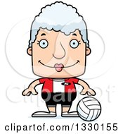 Clipart Of A Cartoon Happy Block Headed White Senior Woman Volleyball Player Royalty Free Vector Illustration by Cory Thoman