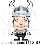 Clipart Of A Cartoon Happy Block Headed White Viking Senior Woman Royalty Free Vector Illustration by Cory Thoman