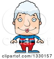 Clipart Of A Cartoon Happy Block Headed White Super Senior Woman Royalty Free Vector Illustration by Cory Thoman