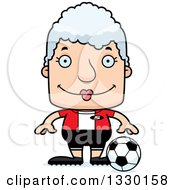 Clipart Of A Cartoon Happy Block Headed White Senior Woman Soccer Player Royalty Free Vector Illustration by Cory Thoman