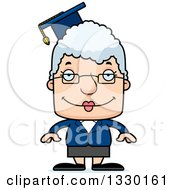 Clipart Of A Cartoon Happy Block Headed White Senior Woman Professor Royalty Free Vector Illustration by Cory Thoman