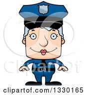 Cartoon Happy Block Headed White Senior Woman Police Officer