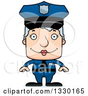 Clipart Of A Cartoon Happy Block Headed White Senior Woman Police Officer Royalty Free Vector Illustration by Cory Thoman