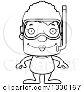 Lineart Clipart Of A Cartoon Black And White Happy Block Headed White Senior Woman In Snorkel Gear Royalty Free Outline Vector Illustration