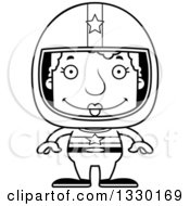 Lineart Clipart Of A Cartoon Black And White Happy Block Headed White Senior Woman Race Car Driver Royalty Free Outline Vector Illustration