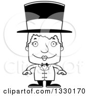 Lineart Clipart Of A Cartoon Black And White Happy Block Headed White Senior Woman Circus Ringmaster Royalty Free Outline Vector Illustration