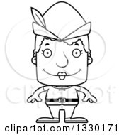 Lineart Clipart Of A Cartoon Black And White Happy Block Headed White Robin Hood Senior Woman Royalty Free Outline Vector Illustration