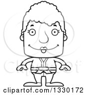 Lineart Clipart Of A Cartoon Black And White Happy Block Headed White Senior Karate Woman Royalty Free Outline Vector Illustration