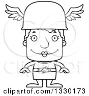 Lineart Clipart Of A Cartoon Black And White Happy Block Headed White Senior Woman Hermes Royalty Free Outline Vector Illustration