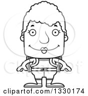 Lineart Clipart Of A Cartoon Black And White Happy Block Headed White Senior Woman Hiker Royalty Free Outline Vector Illustration