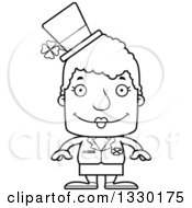 Lineart Clipart Of A Cartoon Black And White Happy Block Headed White Irish St Patricks Day Senior Woman Royalty Free Outline Vector Illustration