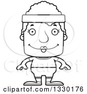Lineart Clipart Of A Cartoon Black And White Happy Block Headed Fit White Senior Woman Royalty Free Outline Vector Illustration