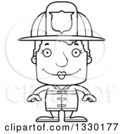 Lineart Clipart Of A Cartoon Black And White Happy Block Headed White Senior Woman Firefighter Royalty Free Outline Vector Illustration by Cory Thoman