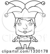 Lineart Clipart Of A Cartoon Black And White Happy Block Headed White Senior Woman Jester Royalty Free Outline Vector Illustration