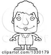 Lineart Clipart Of A Cartoon Black And White Happy Block Headed White Senior Woman Doctor Royalty Free Outline Vector Illustration