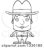 Lineart Clipart Of A Cartoon Black And White Happy Block Headed White Senior Woman Cowgirl Royalty Free Outline Vector Illustration