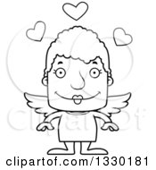 Lineart Clipart Of A Cartoon Black And White Happy Block Headed White Senior Woman Cupid Royalty Free Outline Vector Illustration